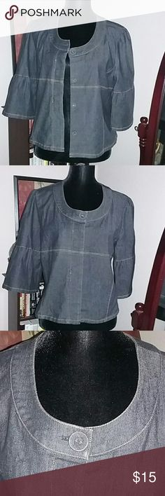 SANDRO SPORTSWEAR Large Dark Denim Top TOP can be worn Botton Up or Open with Tee Underneath..Very Cute..Like NWOT Sandro Tops