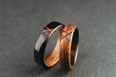 Makassar ebony and ovangkol bentwood rings by SomedayInSeptember