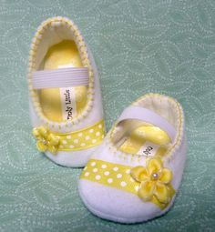 White and yellow easter shoe by OnlyLittleOnce on Etsy, $15.00