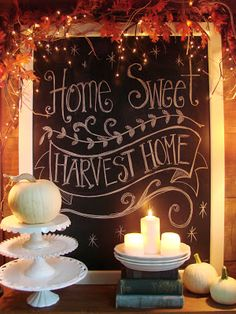 Beautiful way to welcome fall ! Love the garland and lights with the chalk board! From Sweet Magnolias Farm