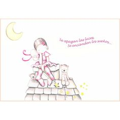 Decoración infantil Il Mondo di Alex, Papel mural efecto pintado a mano, HADA TEJADO... personalizado con nombre o frase y a medida.