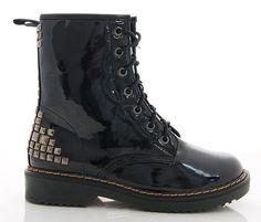 73c299002 Shuzee DM Style Studded Black Shiny Patent Lace Boots