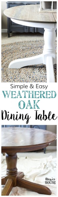 Weathered Oak Dining Table Makeover A thrifted banged up dining table gets a simple weathered oak finish for a highend designer look This tutorial is so easy Dining Table Makeover, Oak Dining Table, Farmhouse Dining, Redo Furniture, Painted Furniture, Refinishing Furniture, Table Makeover, Furniture Makeover, Kitchen Table Makeover