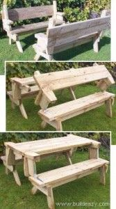 Learn how to make this great Diy folding picnic table. I love the way it can be a picnic table or 2 benches. You have to love anything that does double dut Diy Projects To Try, Home Projects, Folding Picnic Table Plans, Picnic Tables, Fold Up Picnic Table, Wood Crafts, Diy Crafts, Diy Wood, Do It Yourself Furniture