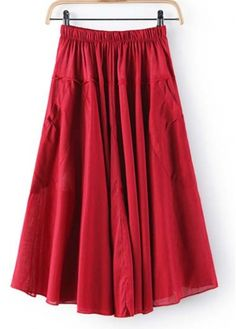 Shiny Red Middle Waist Pockets Decoration Summer Skirts on sale only US$12.04 now, buy cheap Shiny Red Middle Waist Pockets Decoration Summer Skirts at martofchina.com