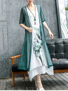 59473213fb5 Buy Asymmetric Hem Color Block Printed Two-Piece Maxi Dress online with  cheap prices and