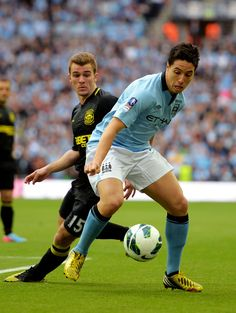~ Samir Nasri of Manchester City against Callum McManaman of Wigan Athletic in the FA Cup Final ~ World Football, Football Soccer, Wigan Athletic, Fa Cup Final, Most Popular Sports, Wembley Stadium, World Of Sports, Manchester City, Premier League
