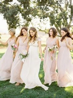 i know i'm afraid of blush dresses, but these are very pretty. and they give the very little color effect. and fit our overall theme...