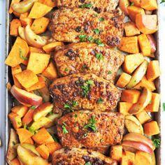 Oven Roasted Pork Chops, Honey Glazed Pork Chops, Roast Pork Chops, Apple Pork Chops, Boneless Pork Chops, Sweet Potato Oven, Sweet Potato And Apple, Apple Recipes, Pork Recipes