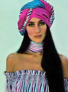 Cher - TV Guide Magazine Cover [United States] April Proof that Cher can rock any headwear! Charlotte Rampling, Alexa Chung, Twiggy, Turbans, Headscarves, Serie Charmed, Katharine Ross, I Got You Babe, Cher Bono