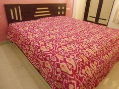handmade ikat  print kantha bedcover indian kantha blanket Traditional Indian handicrafts item with beautiful kantha work.