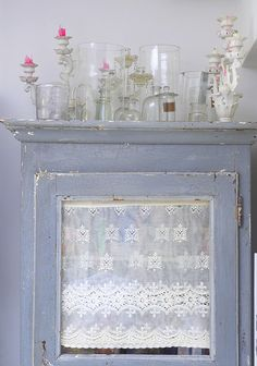 Selina Lake - Candlesticks. I like the lace behind the glass - do that with the old window!