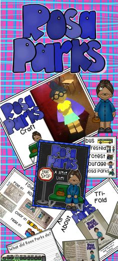 Rosa Parks: A Black History Mini Unit! Packed full of activities. Craft, writing prompts, Easy Reader, Poem, Student Tri-Fold and more!