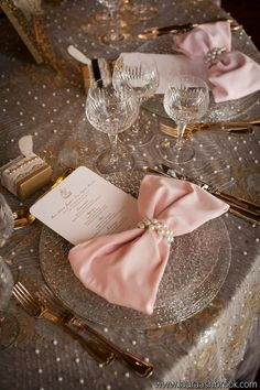 Elegant Wedding Tablescape ♥ Pink Bow Tie Napkins, Lace and Pearl Tablecloth, and Pearl Napkin Rings Wedding Centerpiece. make the pink bow purple, and you've got my dream wedding theme on a table! Beautiful Table Settings, Wedding Table Settings, Pink Table Settings, Setting Table, Table Place Settings, Elegant Wedding, Our Wedding, Dream Wedding, Wedding Ideas