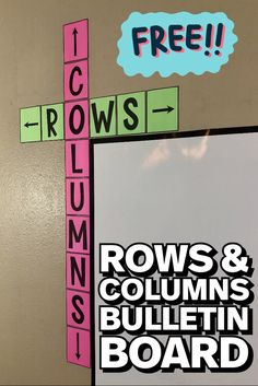 Free Rows and Columns Bulletin Board Poster This rows & columns bulletin board poster is a cute addition to ANY classroom! Free middle school math classroom decor that will help your students learn the difference between rows and columns! 5th Grade Classroom, Middle School Classroom, Third Grade Math, Middle School Science, Math Posters Middle School, Highschool Classroom Decor, Year 4 Classroom, Classroom Birthday, Classroom Board