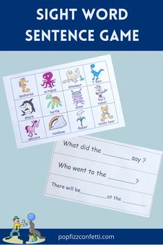 A printable sight word sentence game. Included in this packet are 57 fill in the blank sentence cards consisting of 117 sight words. There are 48 high quality picture cards.