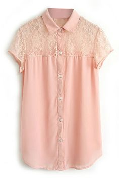 ROMWE | ROMWE Cut-out Lace Pink Shirt, The Latest Street Fashion http://www.romwe.com/romwe-cutout-lace-pink-shirt-p-82702.html