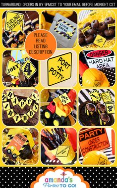 Construction Party Printable - Dump Truck - Builder - Birthday -Huge Party Set by Amanda's Parties TO GO on Etsy, $29.50