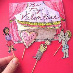 small world land: Stick Puppet Stage Valentine