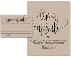 Time Capsule, Guest Book Alternative, Time Capsule Cards, Guest Book Sign, Time…