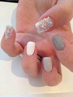 #grey nails #glitter nails