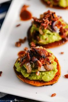 Sweet Potato, Guacamole Bacon Bites Recipe, appetizer, avocados, roasted, parties, easy, bite sized, bite size, make ahead, party, cold, dip, sauce, homemade, veggies, Paleo, Whole30, #Melissasproduce #guaclock