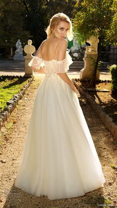 louise sposa 2018 bridal cold shoulder half sleeves sweetheart neckline heavily embellished bodice romantic a line wedding dress sweep train (13) bv -- Louise Sposa 2018 Wedding Dresses