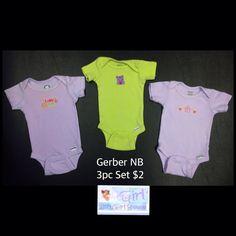 "Gerber Newborn Infant Girls ""I Love You"" 3pc Onesie Set $2"