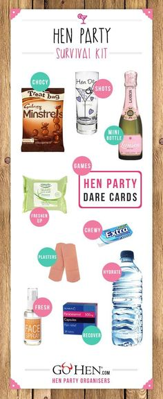Everything you need to include in your hen party survival kits. Create your own gift bag for each hen as you embark on a fantastic weekend together Hen Do Party Bags, Hen Party Favours, Hen Party Gifts, Party Gift Bags, Hens Party Themes, Hen Night Ideas, Hens Night, Classy Hen Party Ideas, Hen Doo Ideas