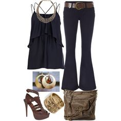 """black tank tribal accessories"" by laura-blakney on Polyvore  gold bronze accessories brown leather shoes purse jeans belt necklace bangle summer casual outfit"