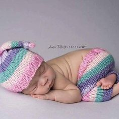 Pinks, purple and green girl hat and pant set