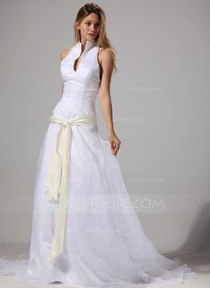 A-Line/Princess Halter Court Train Organza Wedding Dress With Sash (002004777)