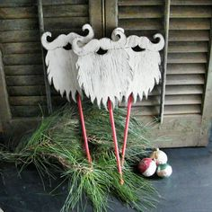 Santa Beard Wooden  Christmas Decor Winter Holiday Photo Prop. $33.00, via Etsy.