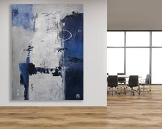 Extra Large Blue, Grey and White Abstract Painting / Original Art / Modern Art / Blue and Grey Art / Texture Painting