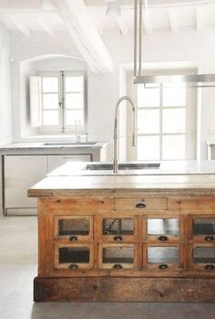 = reclaimed shop counter as kitchen bench