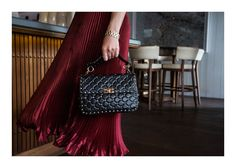 Cushiony studded goodness, and with adaptable strap options to suit your mood, means that this baby is more than a pretty face. Valentino Rockstud Bag, Valentino Bags, Pleated Skirt Outfit, Studded Bag, One Bag, Red Skirts, Cloth Bags, Louis Vuitton Speedy Bag, Dion Lee