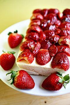 meyer lemon ice cream cake with strawberries and almonds