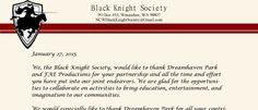 Slightly late on announcing the news, please pardon the delay! Our relationship with the Black Knight Society has been sealed. Castle Project, 5 Year Plan, Event Venues, Bring It On, Park, Parks