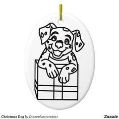 Christmas Dog Double-Sided Oval Ceramic Christmas Ornament