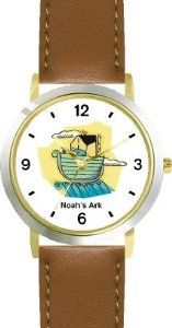 Buy Noah's Ark No.4 - Biblical Theme - WATCHBUDDY® DELUXE TWO-TONE THEME WATCH - Arabic Numbers - Brown Leather Strap-Children's  Lowest Prices - http://greatcompareshop.com/buy-noahs-ark-no-4-biblical-theme-watchbuddy-deluxe-two-tone-theme-watch-arabic-numbers-brown-leather-strap-childrens-lowest-prices