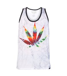LATHC+Abstract+marble+print+tank+top+Cotton+for+comfort+Weed+leaf+graphic+on+front