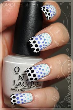 Basecoat: Nail Envy by OPI  White: Alpine Snow by OPI  Blues bottom-to-top: Kinetic Candy by China Glaze, What's With The Cattitude by OPI, Electric Beat and Secret Peri-Wink-Le by China Glaze  Back: Black Onyx by OPI  Topcoat: Seche Vite