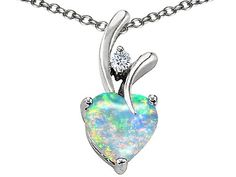 Original Star K(tm) 8mm Heart Shape Created Opal Pendant in 925 Sterling Silver: Jewelry: Amazon.com  GORGEOUS!  This is so pretty