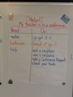 The second grade students made a chart displaying what to do when they need help and their teacher is conferencing with another student.