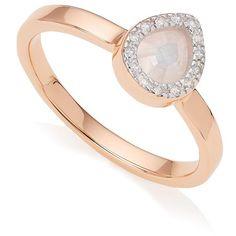 Monica Vinader Diva Mini Lotus Moonstone Ring ($280) ❤ liked on Polyvore