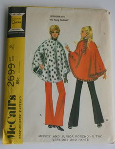Vintage McCall's 2699 Misses' and Junior Poncho and by FogENotions, $5.00