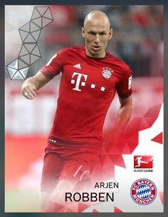 Arjen Robben Bayern Munchen (Bundesliga) Silver Parallel Card 2016 Topps KICK