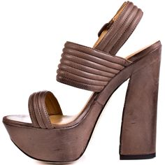 Get the latest from L.A.M.B. with Mabelle.  A soft taupe leather makes up this chic and retro inspired style.  A 5 1/2 inch thick heel and 1 3/4 inch sturdy platform completes this summer sandal.