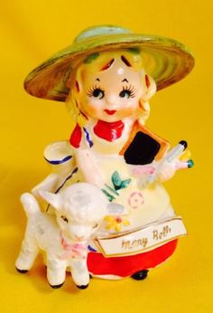 034-Mary-Had-a-Little-Lamb-034-Bell-Figurine-Artmark-Nursery-Rhyme-Fairy-Tale-Vintage
