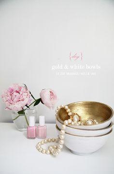 decor, gold bowl, craft, diy gold, color, white bowl, diy idea, thing, bowls